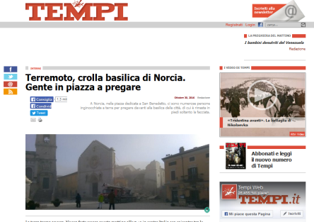 """""""Tempi"""", """"Terremoto, crolla basilica di Norcia. Gente in piazza a pregare"""", 30 ottobre 2016."""