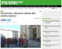 """""""Piceno Oggi"""", """"Terremoto, chiuse le chiese del centro storico"""", 30 ottobre 2016."""
