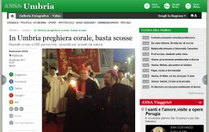 """""""Ansa Umbria"""", """"In Umbria preghiera corale, basta scosse"""", 26 gennaio 2017"""